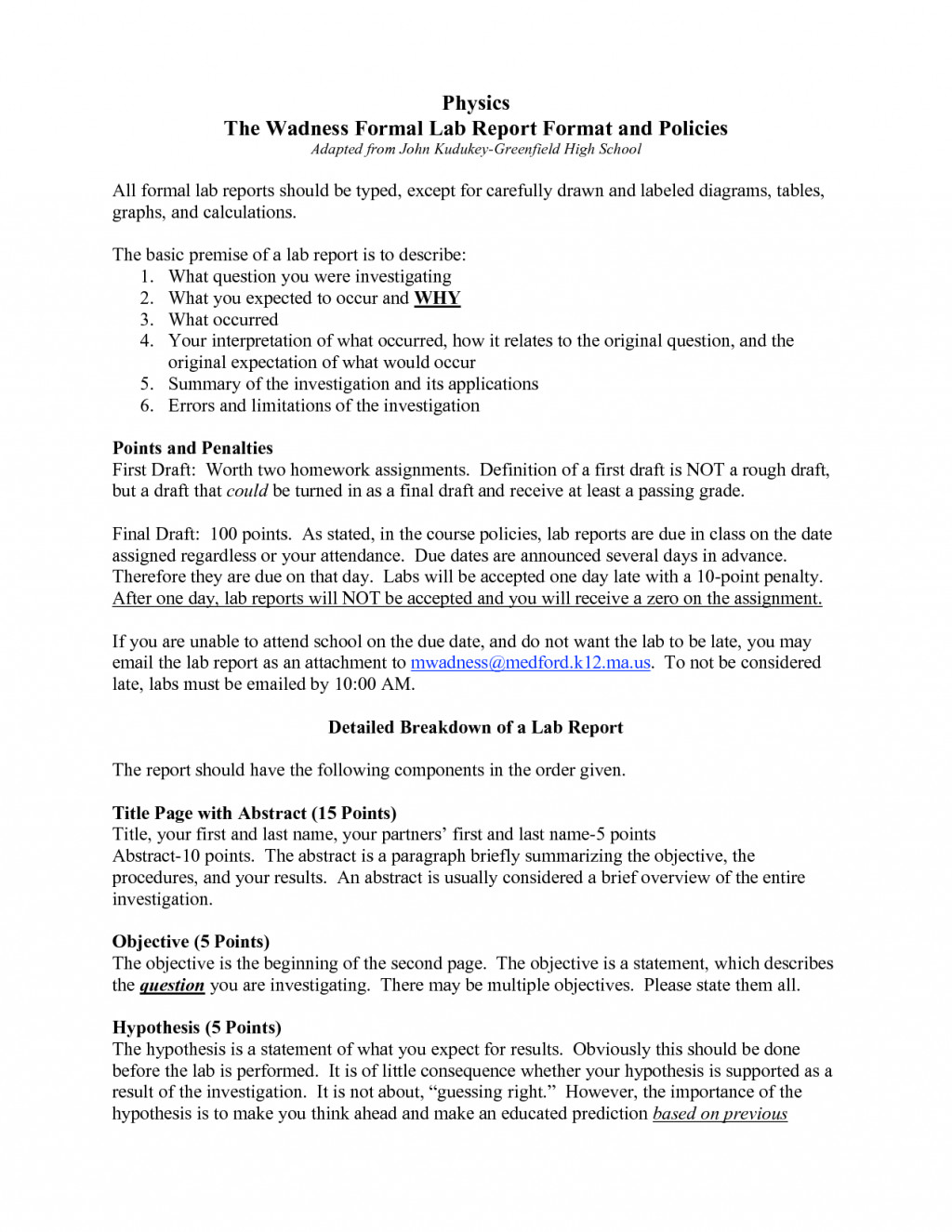 Formal Lab Report Template formal Lab Report Template Physics Biological Science