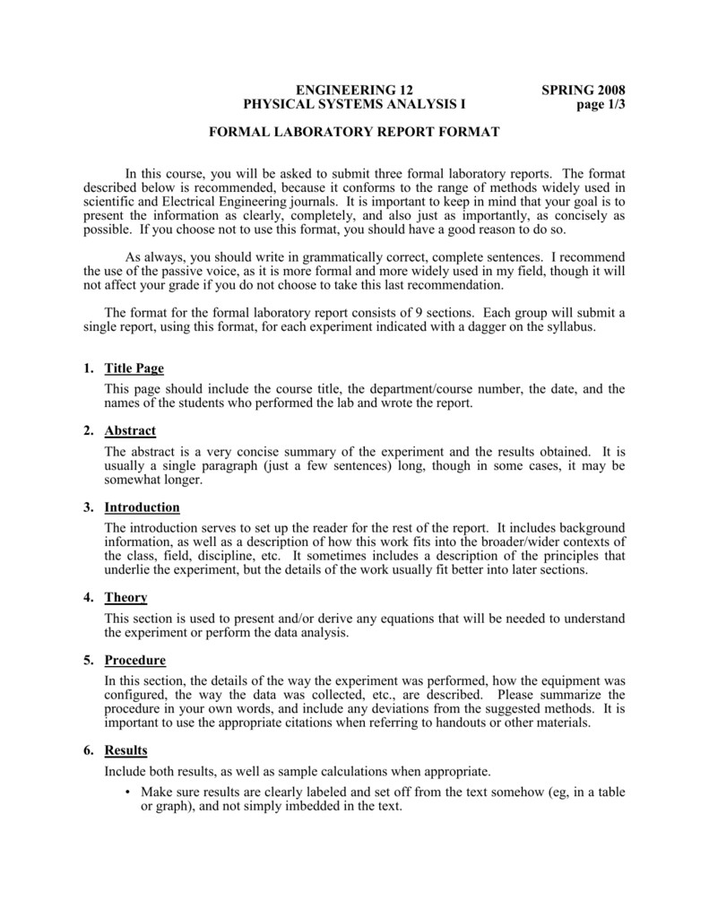 Formal Lab Report Template formal Laboratory Report format