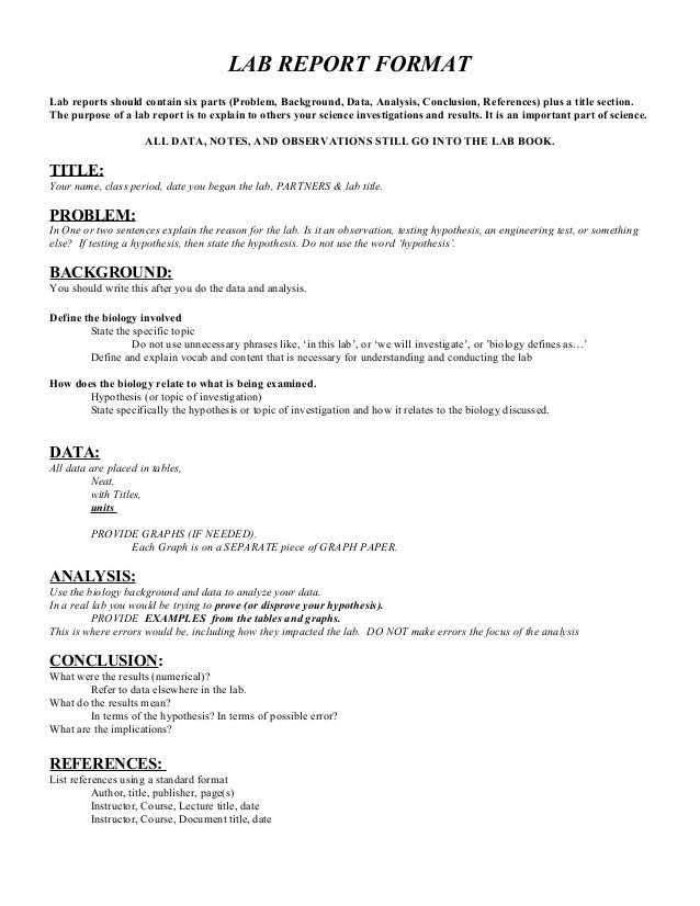 Formal Lab Report Template Lab Report format