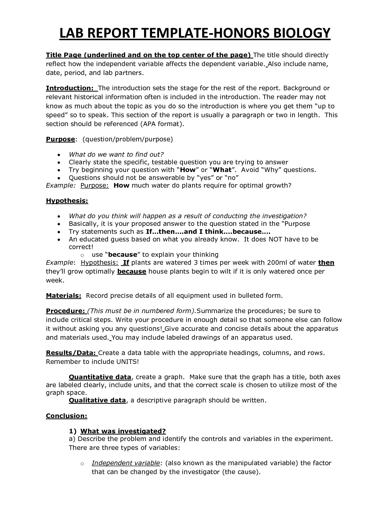 Formal Lab Report Template Lab Report Template
