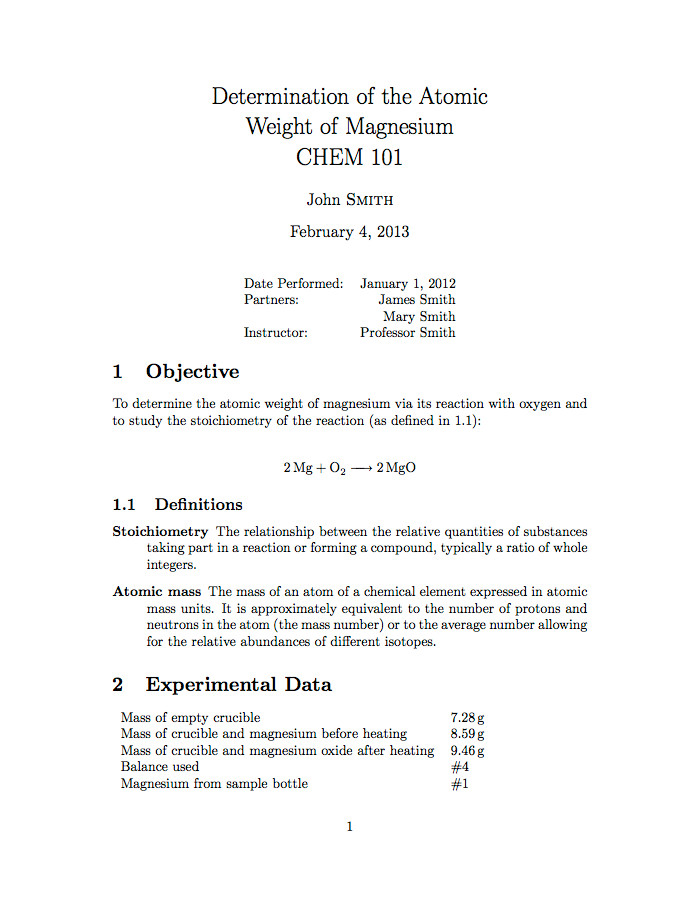 Formal Lab Report Template Latex Templates University School Laboratory Report