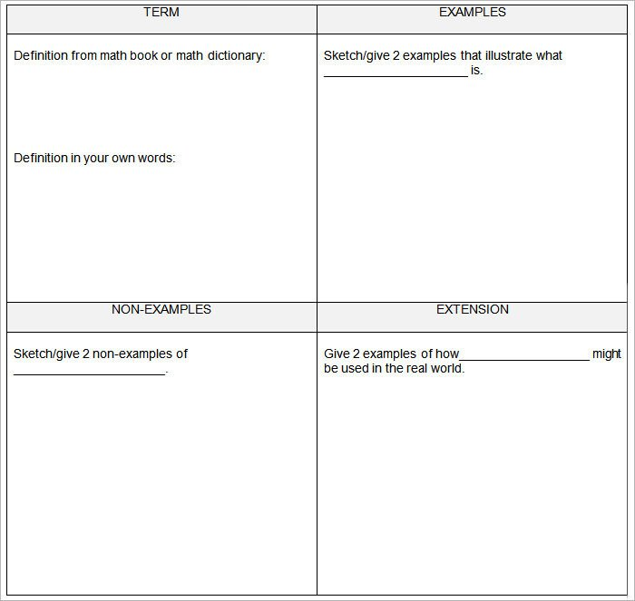 Frayer Model Template Word 5 Frayer Model Templates Free Sample Example format