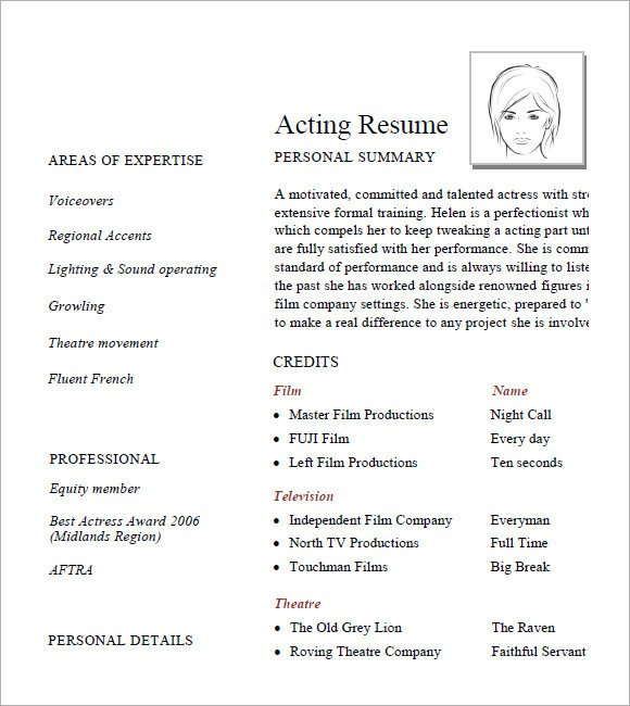 Free Acting Resume Template 7 Acting Resume Samples Examples Templates