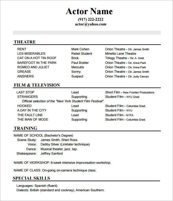 Free Acting Resume Template Acting Resume Advice From asc