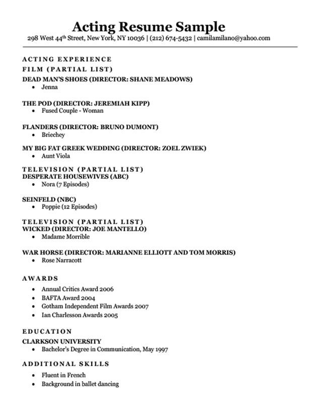 Free Acting Resume Template Acting Resume Sample & Writing Tips