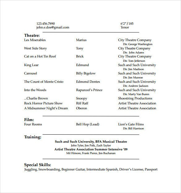 Free Acting Resume Template Acting Resume Template 19 Download In Pdf Word Psd