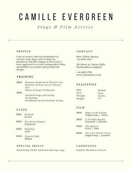 Free Acting Resume Template Customize 29 Acting Resume Templates Online Canva