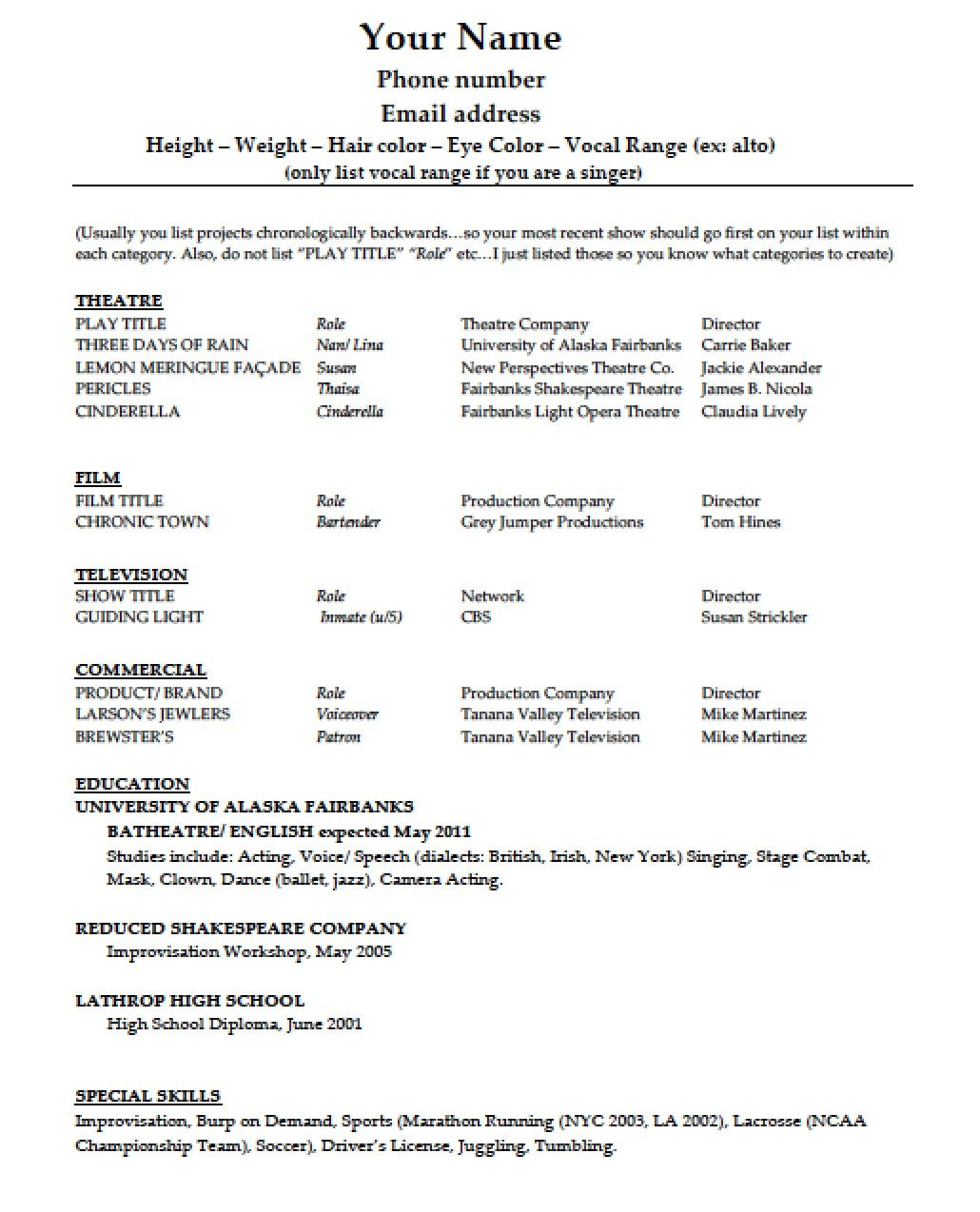 Free Acting Resume Template Download Acting Résumé Template Pdf
