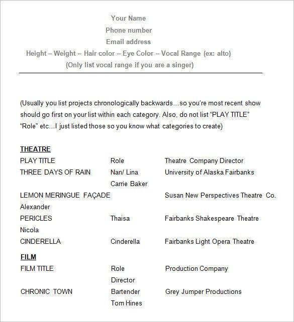 Free Acting Resume Template Homework Help In Las Vegas Nevada