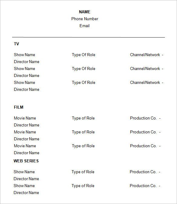 Free Acting Resume Template How to Create A Good Acting Resume Template