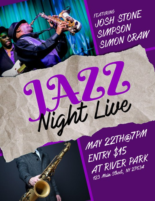 Free Band Flyer Templates Jazz Night Live Flyer Template