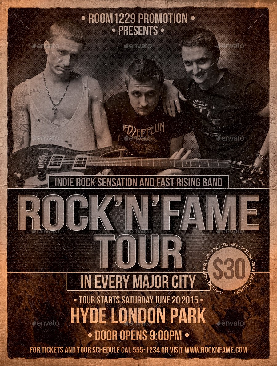 Free Band Flyer Templates Rock Band Flyer and Ticket Template by Designroom1229