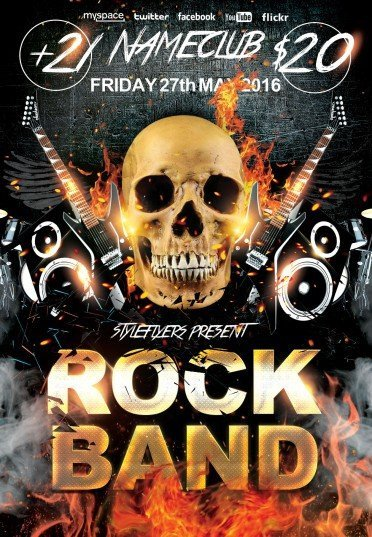 Free Band Flyer Templates Rock Band Psd Flyer Template 7954 Styleflyers