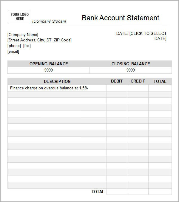 Free Bank Statement Template Bank Statement Template 13 Download Free Documents In