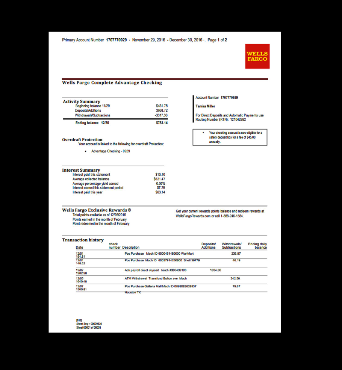 Free Bank Statement Template Bank Statement Wells Fargo Template Fake Custom
