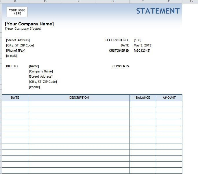 Free Bank Statement Template Sample Billing Statement Google Search