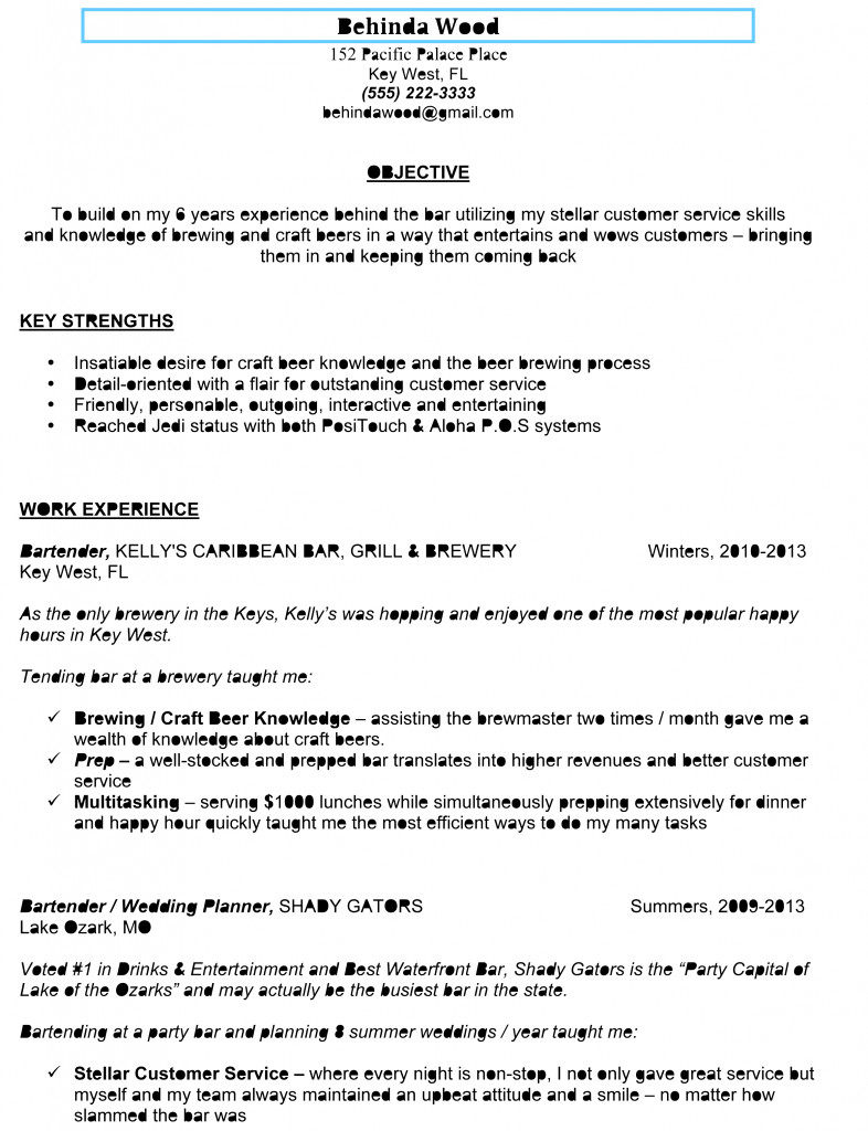 Free Bartender Resume Templates Awesome Sample Bartender Resume to Use as Template