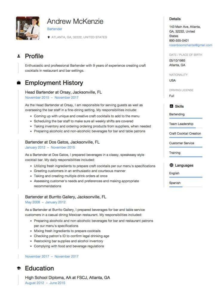 Free Bartender Resume Templates Bartender Resume [ 12 Samples] 2019