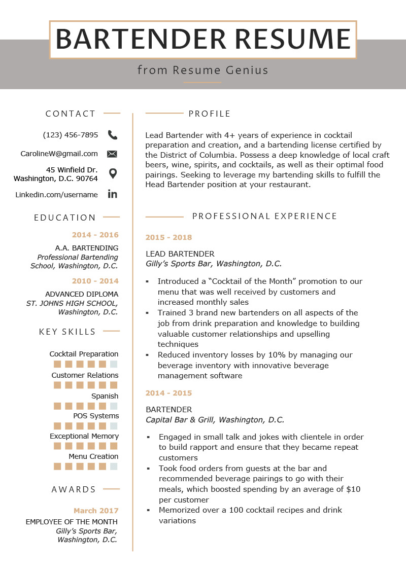 Free Bartender Resume Templates Bartender Resume Example & Writing Guide