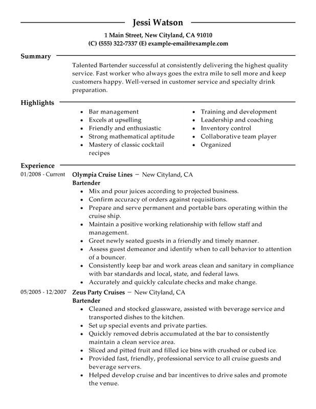 Free Bartender Resume Templates Bartender Resume Examples – Free to Try today
