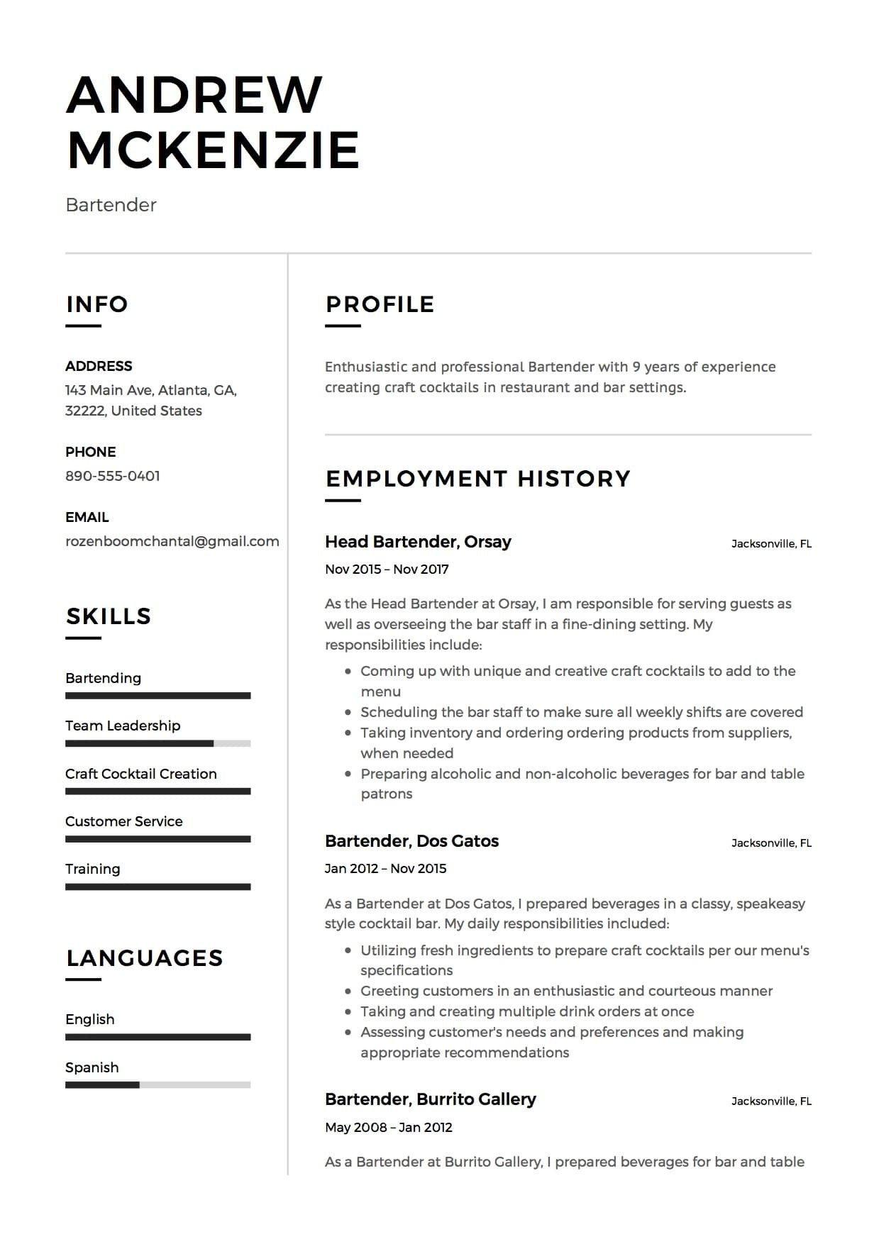 Free Bartender Resume Templates Bartender Resume Sample 12 Creative Resume Examples