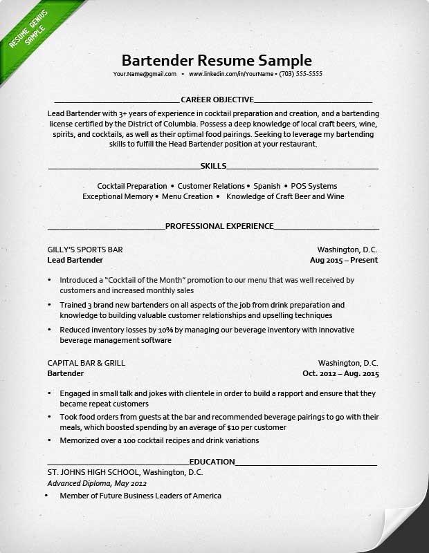 Free Bartender Resume Templates Bartender Resume Sample