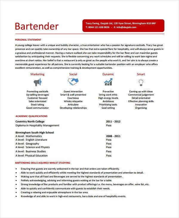 Free Bartender Resume Templates Bartender Resume Template 6 Free Word Pdf Document