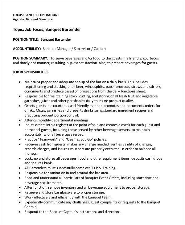 Free Bartender Resume Templates Bartender Resume Templates