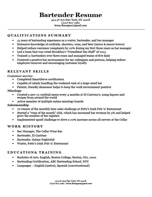 Free Bartender Resume Templates Functional Resume Examples & Writing Guide