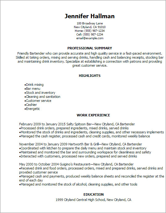 Free Bartender Resume Templates Professional Bartender Resume Templates to Showcase Your