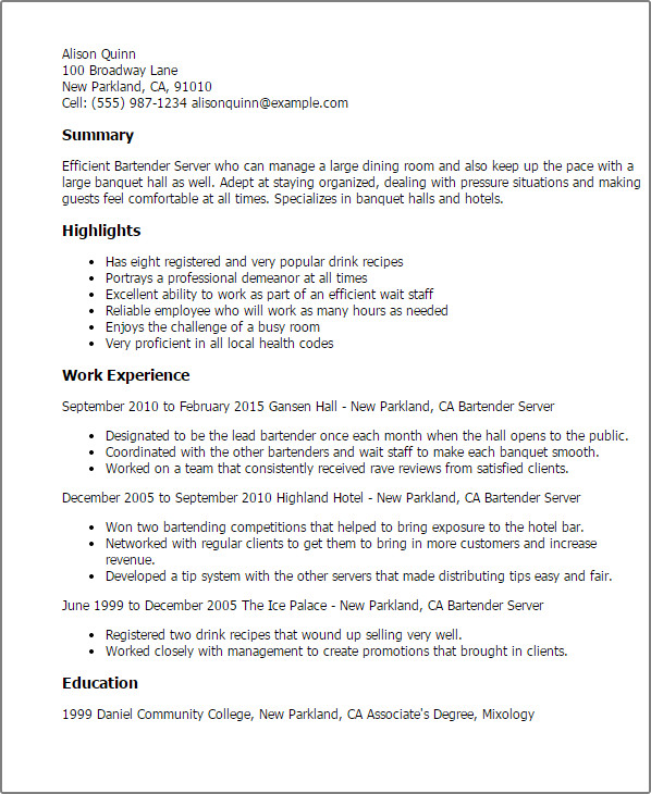 Free Bartender Resume Templates Professional Bartender Server Templates to Showcase Your