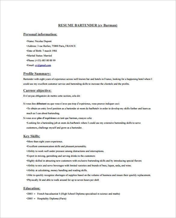 Free Bartender Resume Templates Sample Bartender Resume Template 8 Download Free