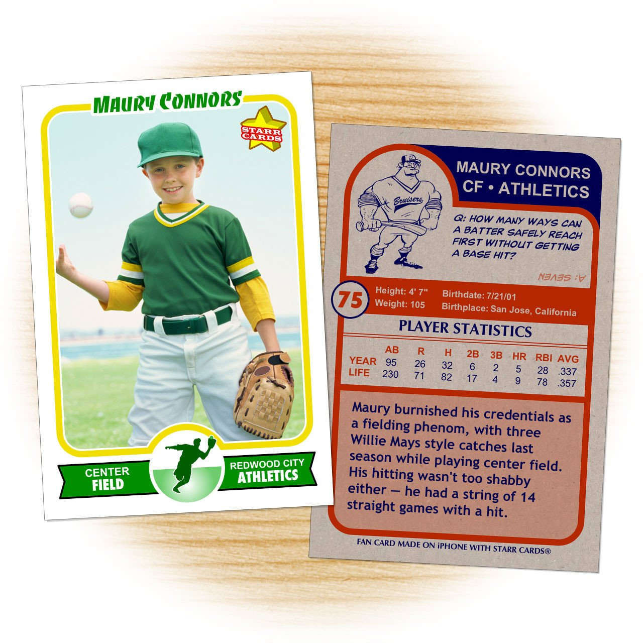 Free Baseball Card Template Make Your Own Baseball Card with Starr Cards