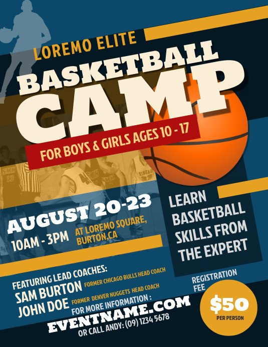Free Basketball Flyer Template Basketball Camp Flyer Template