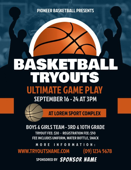Free Basketball Flyer Template Copy Of Basketball Tryouts Flyer
