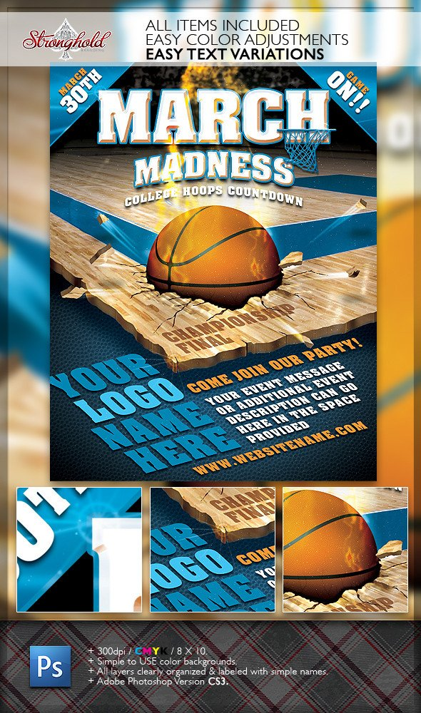 Free Basketball Flyer Template March Madness Basketball Flyer Template On Behance