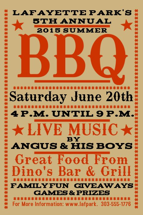 Free Bbq Flyer Template Barbecue Poster Templates
