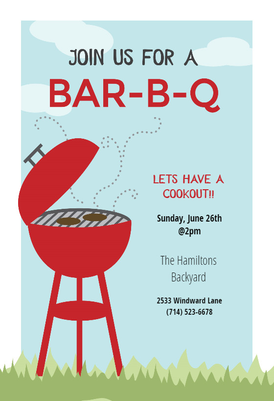 Free Bbq Flyer Template Bbq Cookout Bbq Party Invitation Template Free