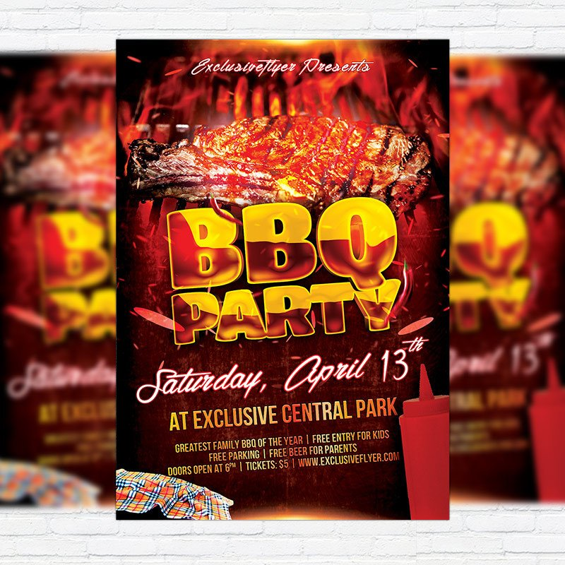 Free Bbq Flyer Template Bbq Party – Premium Flyer Template Cover