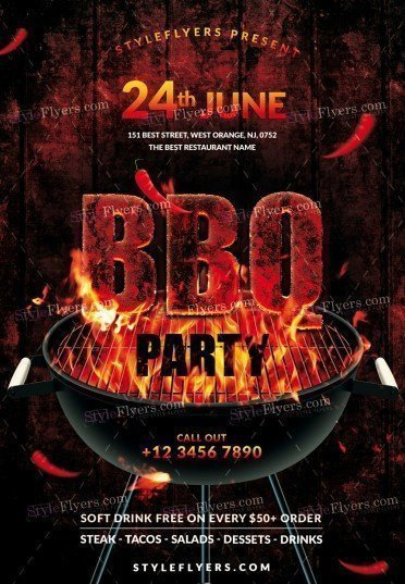 Free Bbq Flyer Template Bbq Psd Flyer Template Styleflyers