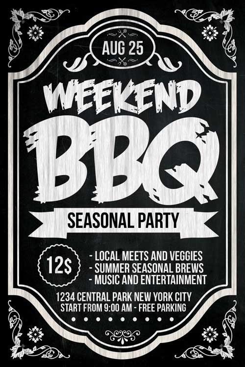 Free Bbq Flyer Template Chalkboard Bbq Flyer Template Psd Download Xtremeflyers