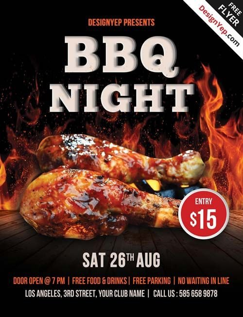 Free Bbq Flyer Template Free Barbecue Night Psd Flyer Template…