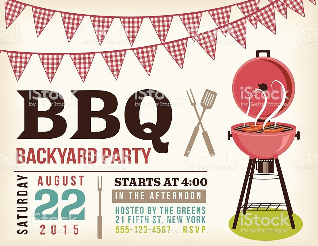 Free Bbq Invitation Template Retro Bbq Invitation Template with Checkered Flags Stock