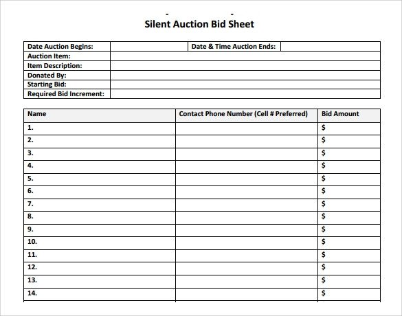 Free Bid Sheet Template 20 Sample Silent Auction Bid Sheet Templates to Download