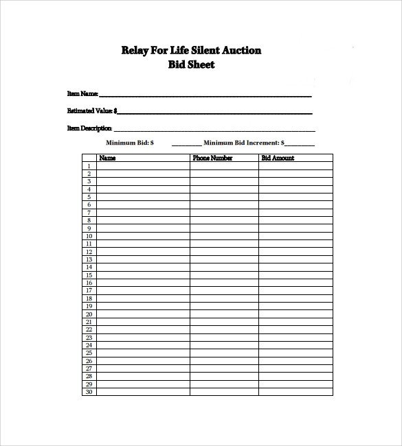Free Bid Sheet Template 20 Sample Silent Auction Bid Sheet Templates to Download