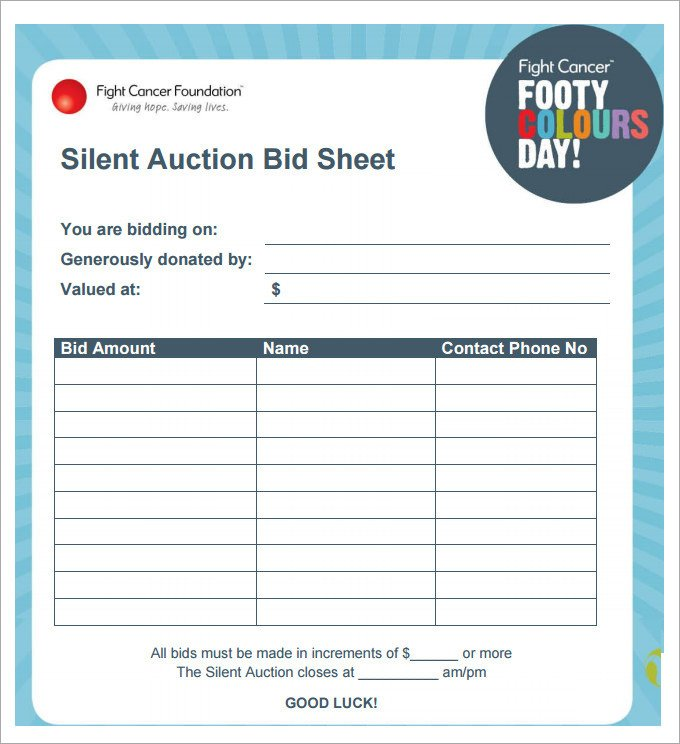 Free Bid Sheet Template 20 Silent Auction Bid Sheet Templates & Samples Doc
