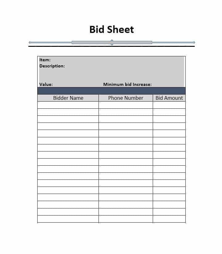Free Bid Sheet Template 40 Silent Auction Bid Sheet Templates [word Excel]