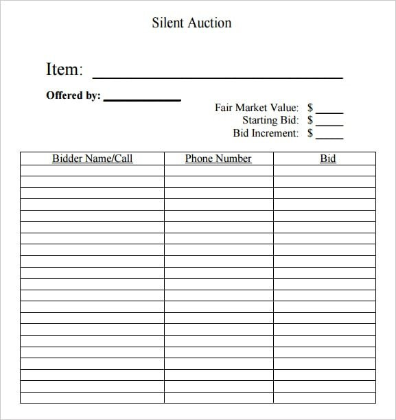 Free Bid Sheet Template 6 Silent Auction Bid Sheet Templates formats Examples