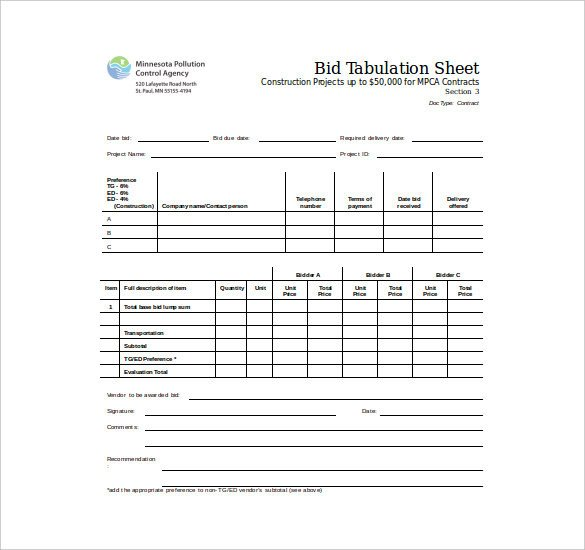 Free Bid Sheet Template Bid Sheet Template 14 Free Sample Example format