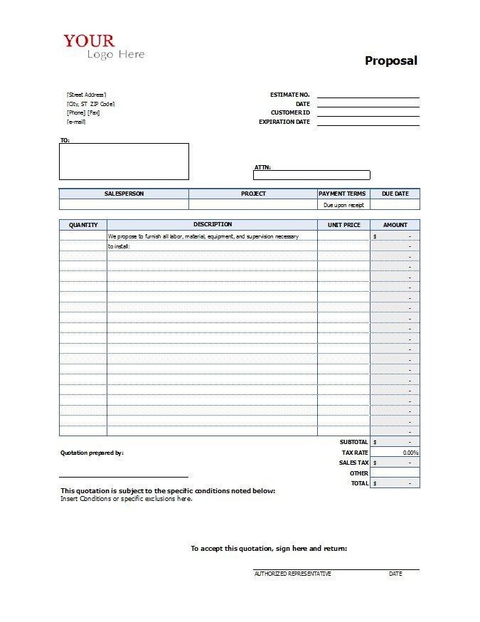 Free Bid Sheet Template Construction Proposal Template